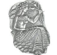 Ασημένια καρφίτσα αρχαιοελληνικό αντίγραφο γυναίκα με τα κρίνα μυνωικός πολιτισμός