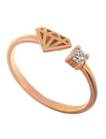 Δαχτυλίδι από ρόζ επιχρυσωμένο ασήμι σχέδιο διαμαντιού και απέναντι ζιργκόν