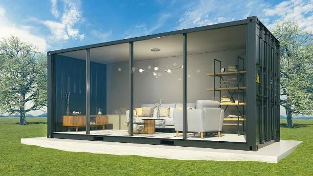 rumah kontainer kaca satu lantai