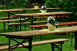tables on garden