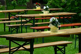 tables on garden