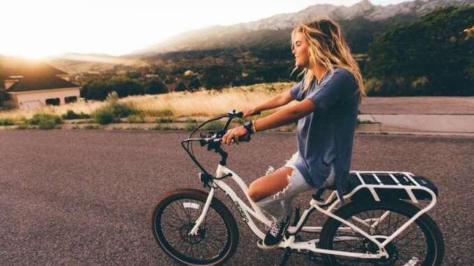 woman on Folding Bikes