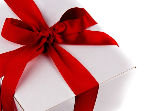 gift with red ribbon