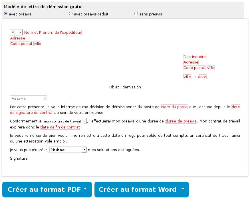 Modèle Lettre De Démission Pdf Ou Word Gratuit à Imprimer