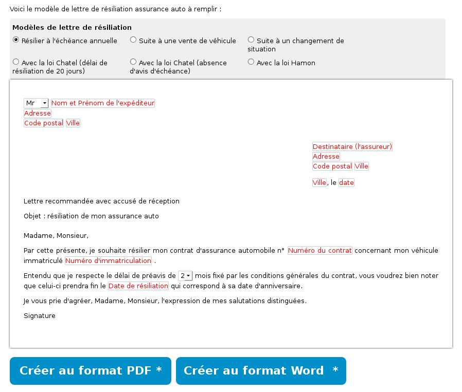 modele lettre resiliation contrat assurance voiture