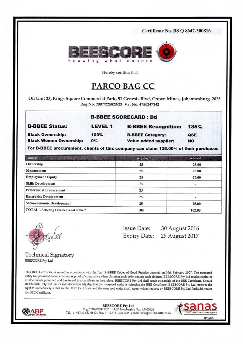 parcobags_bee-certificate-2016-2017_info