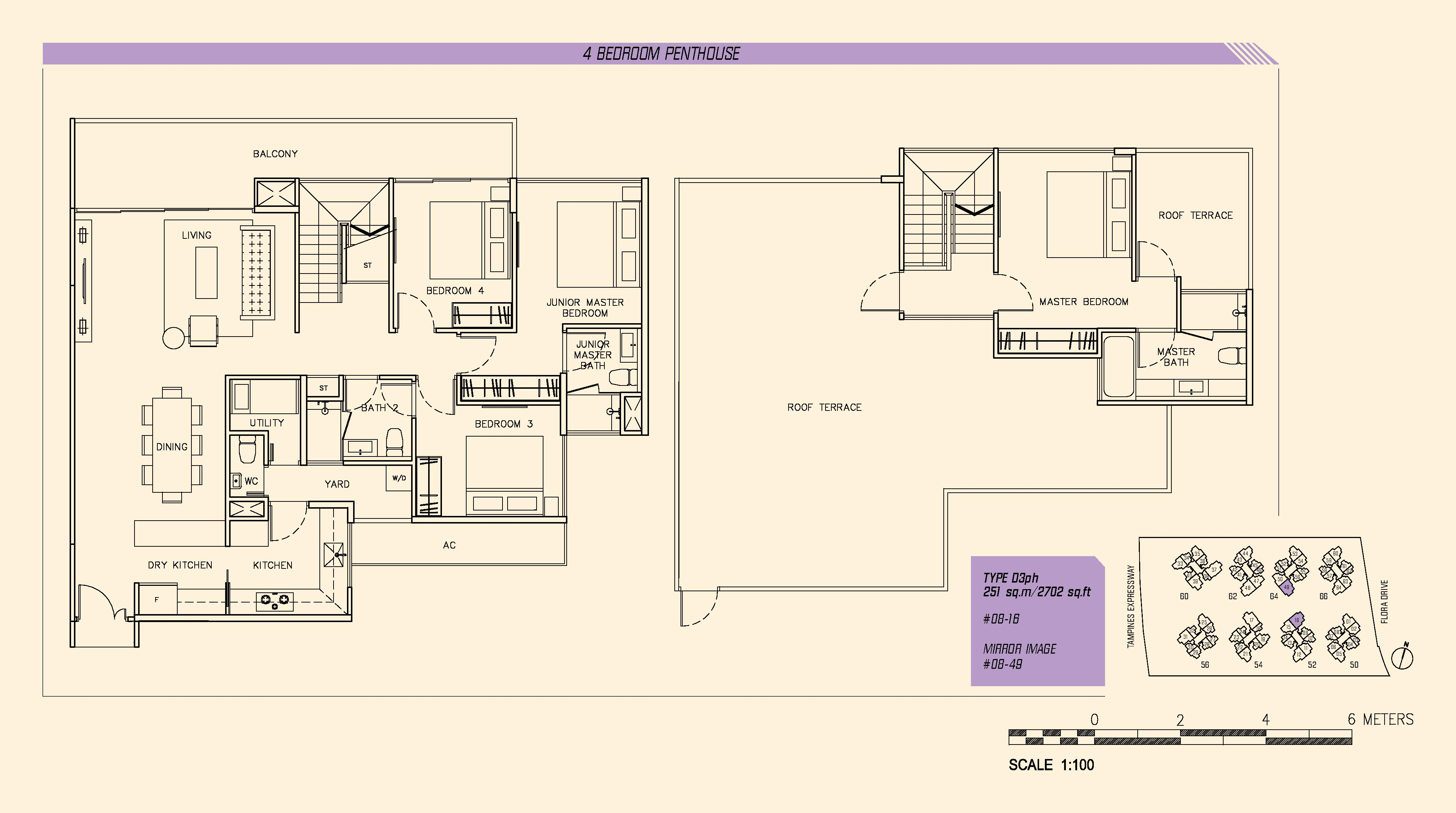 Parc Olympia 4 Bedroom Penthouse Floor Plans Type D3ph