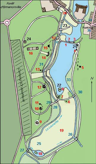 plan du parc Jean-Jacques Rousseau avec ses fabriques