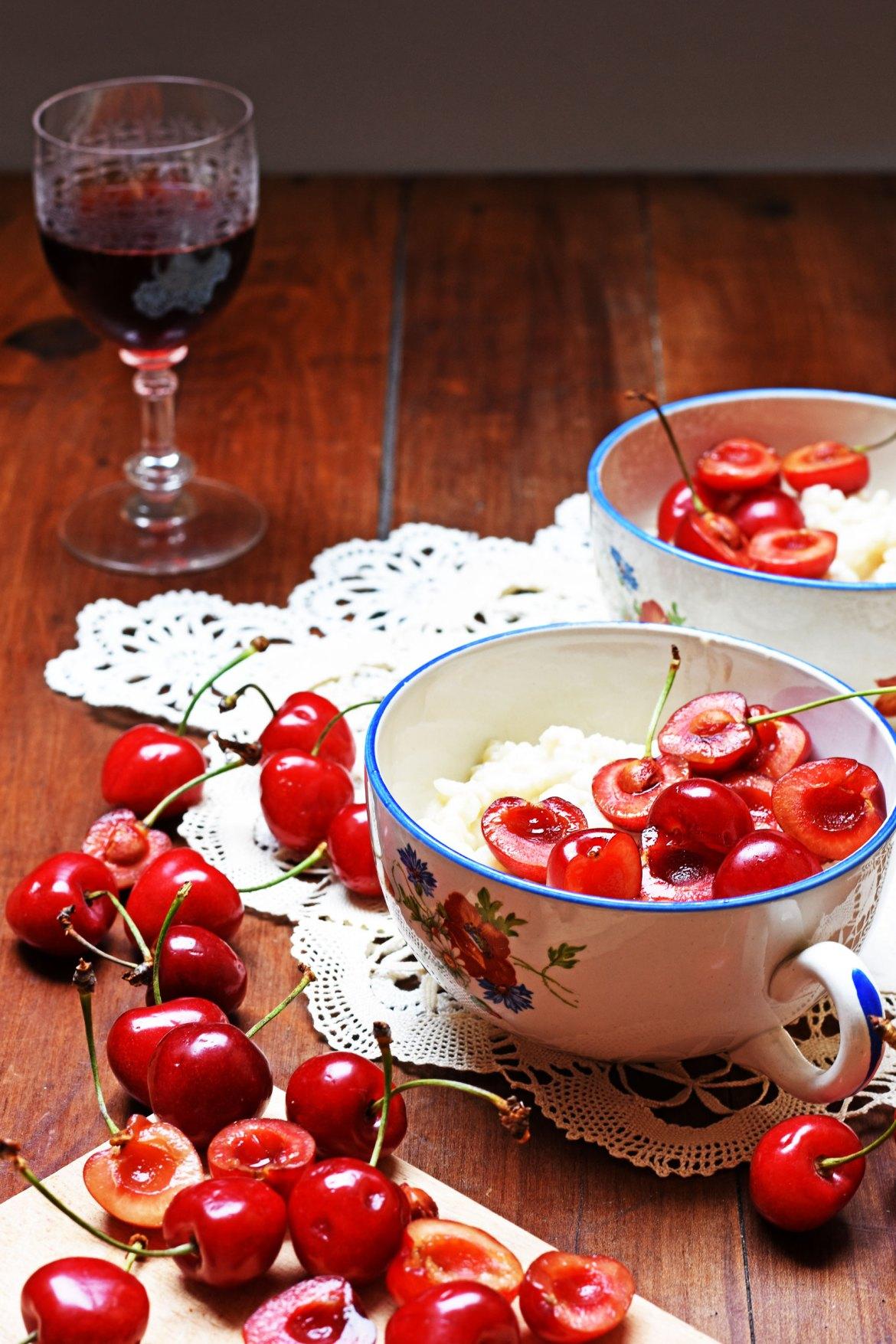 Port wine preserved cherries