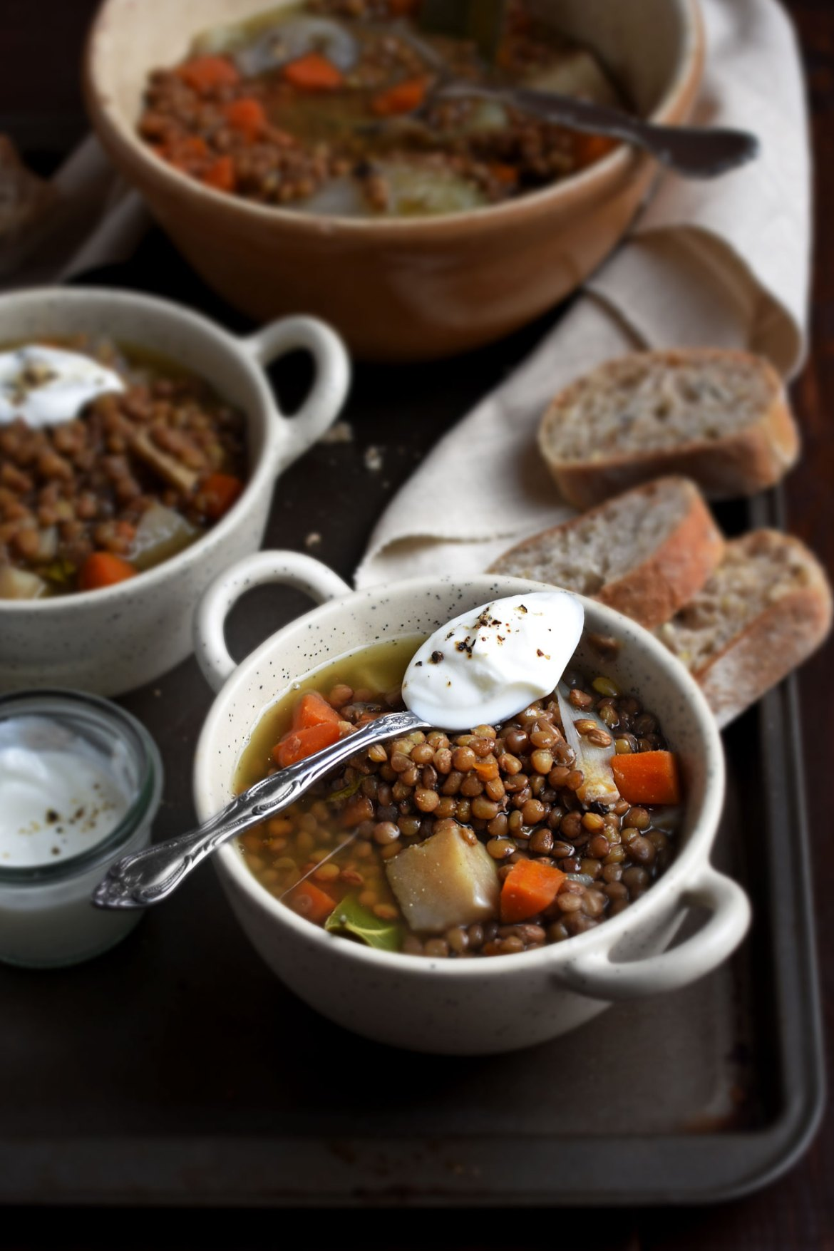 French Lentil soup with yesterday's bread (1)