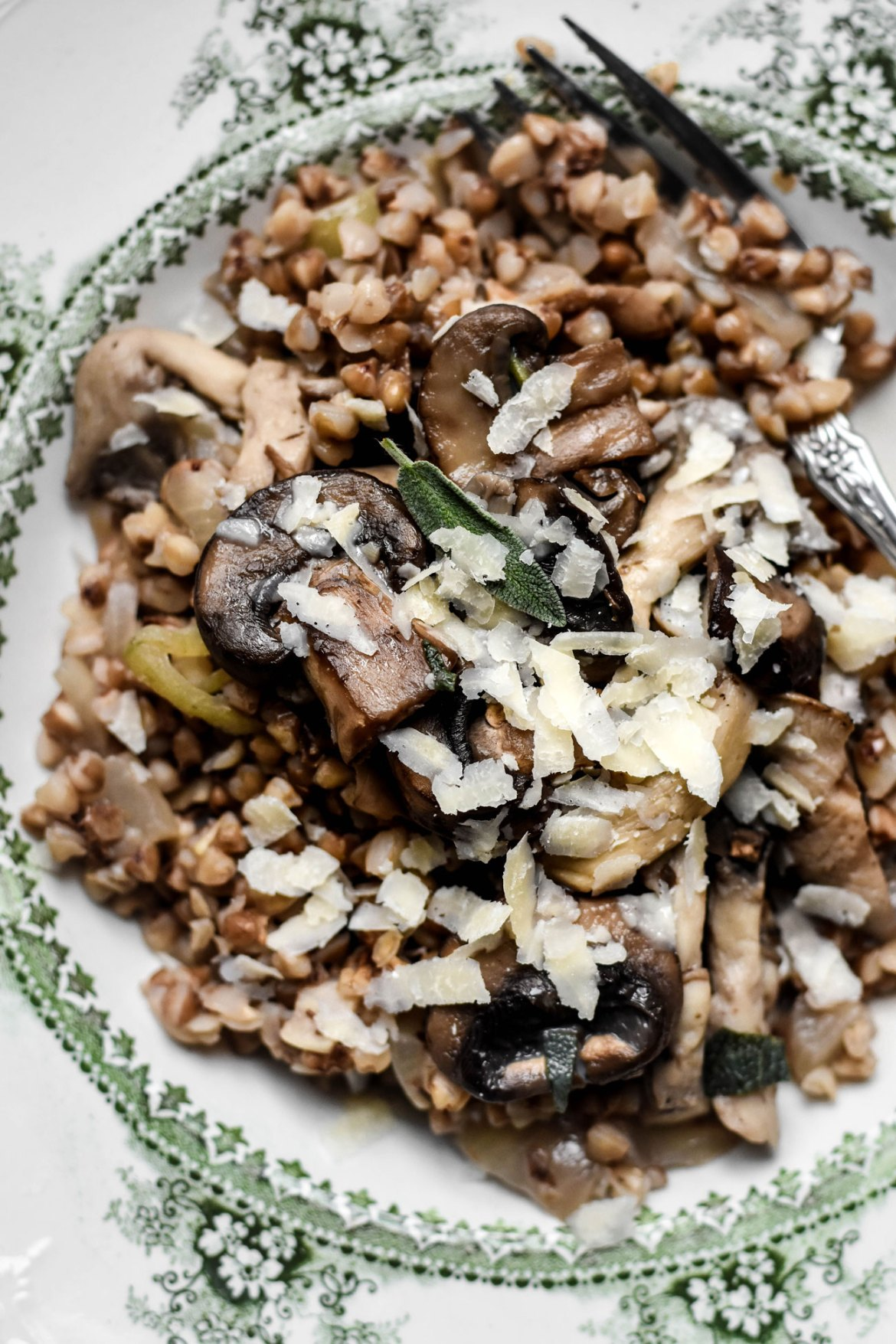 Buckwheat Risotto with Mushroom Forestière Sauce