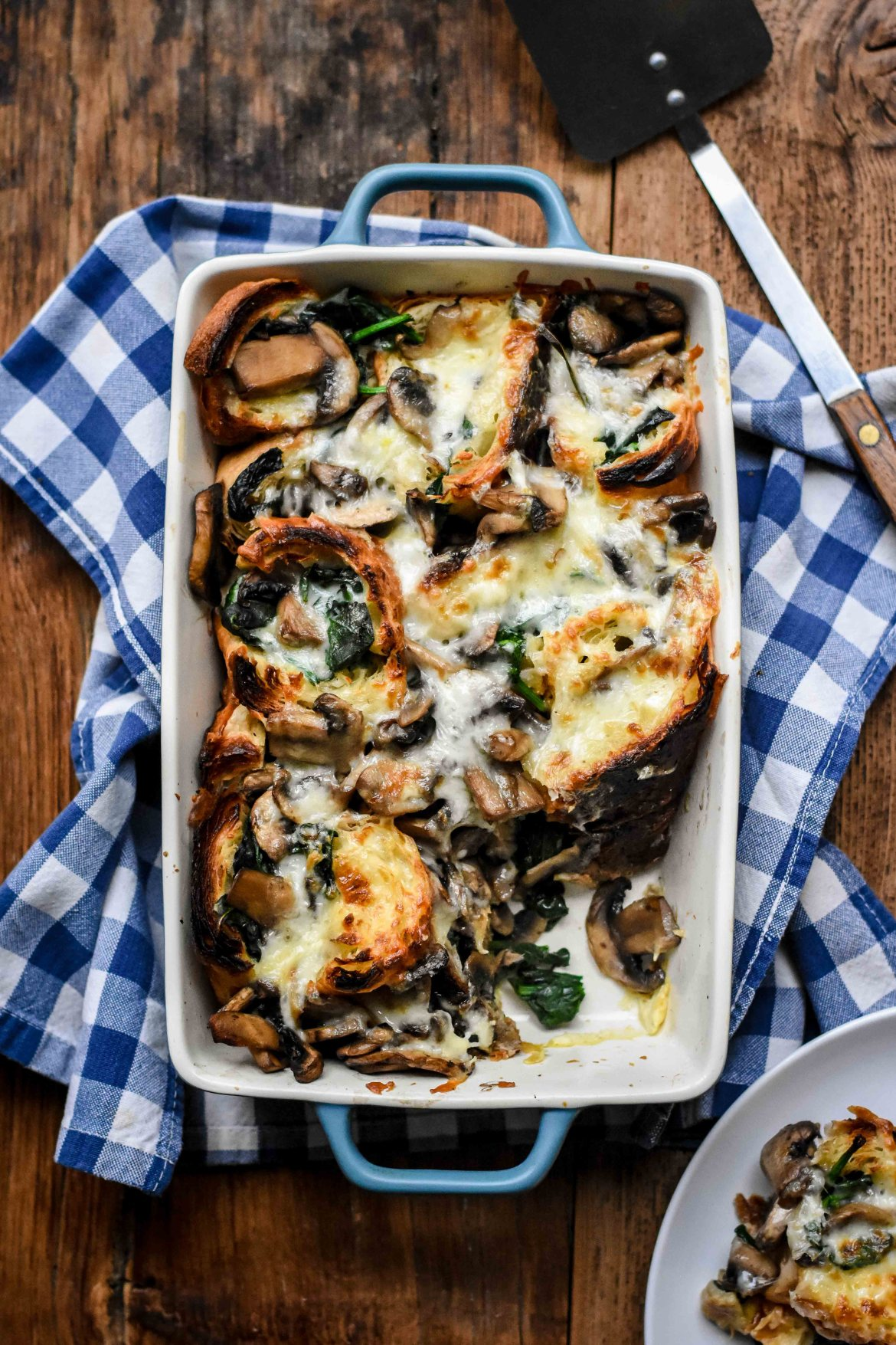 Savory Croissant Casserole with Mushrooms, Spinach and Cheese