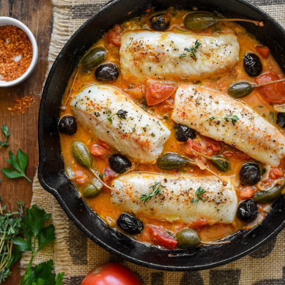 Cod Provençal with Tomatoes, Capers and Olives