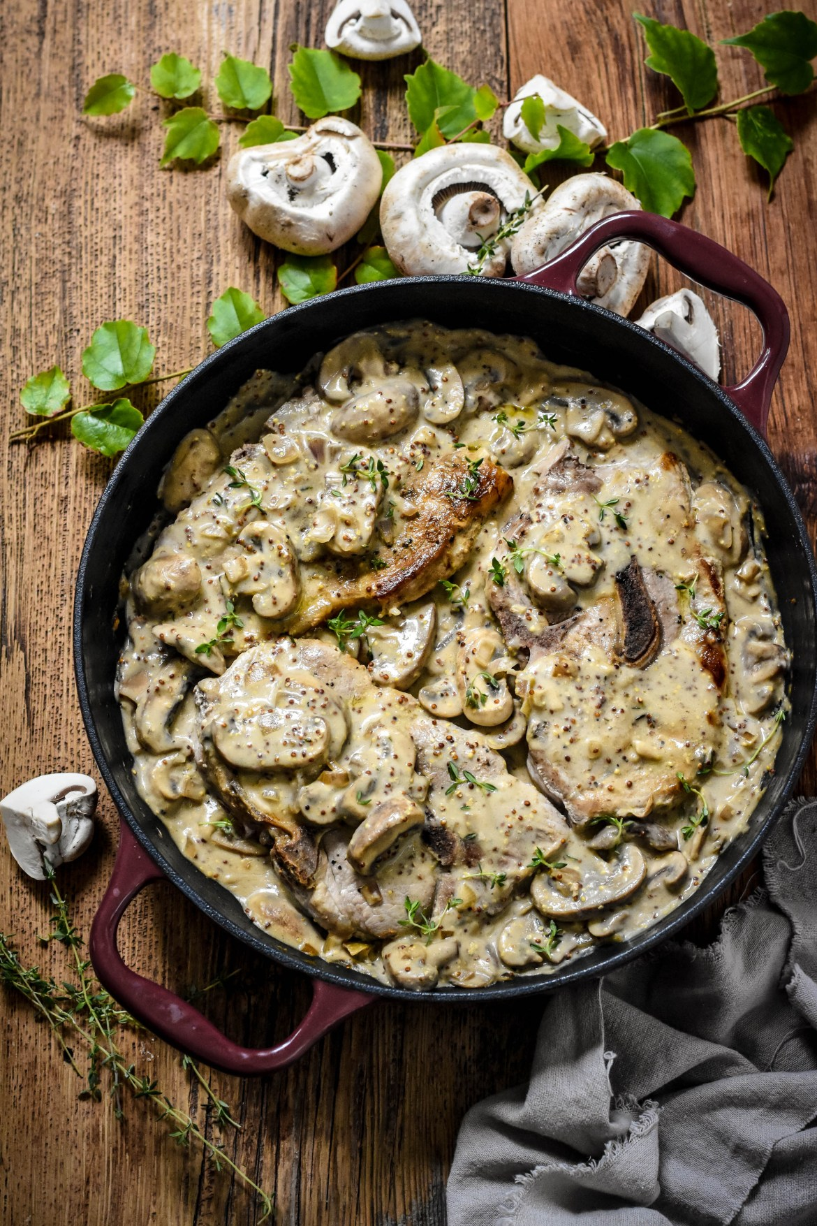 pork chop mushroom mustard recipe Pork Chops in Grainy Mustard and Mushroom Sauce