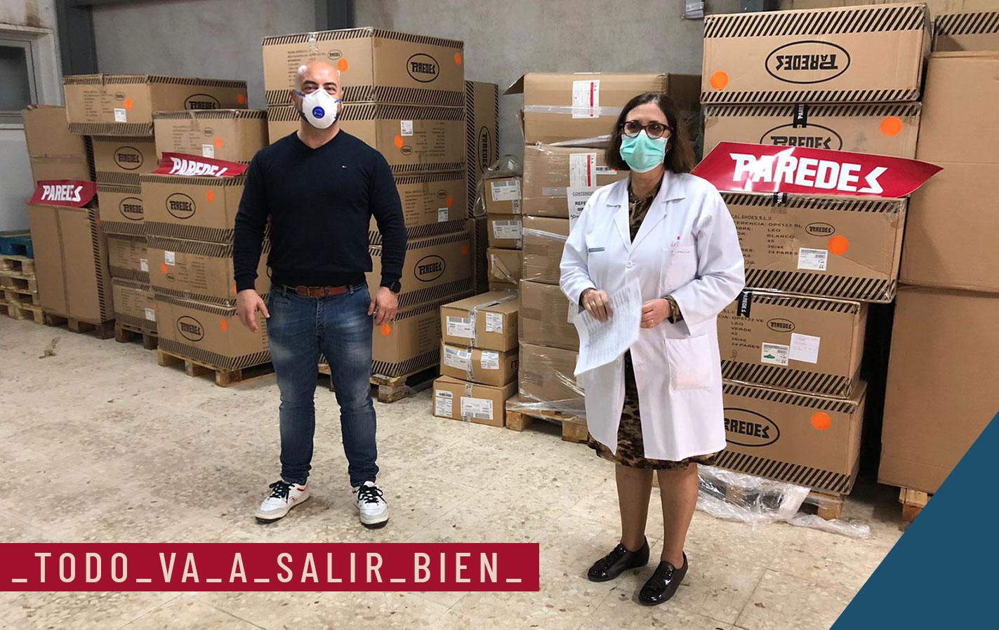 Donación calzado sanitario de Paredes a los Hospitales para hacer frente a la crisis sanitaria del Covid19