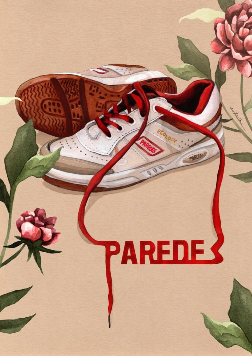 version ilustrada de zapatillas Paredes ilustradora Alba Saenz