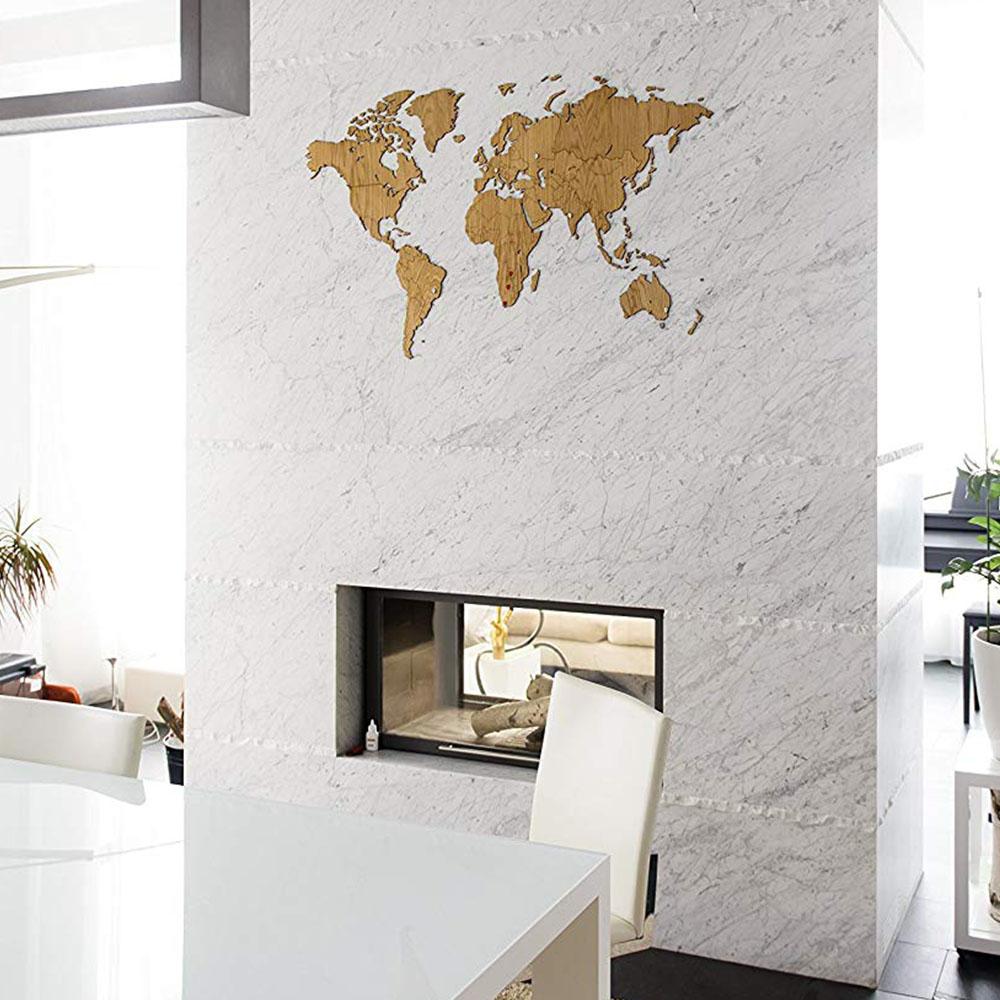 carte du monde en chene map monde deco 130x78cm exclusive