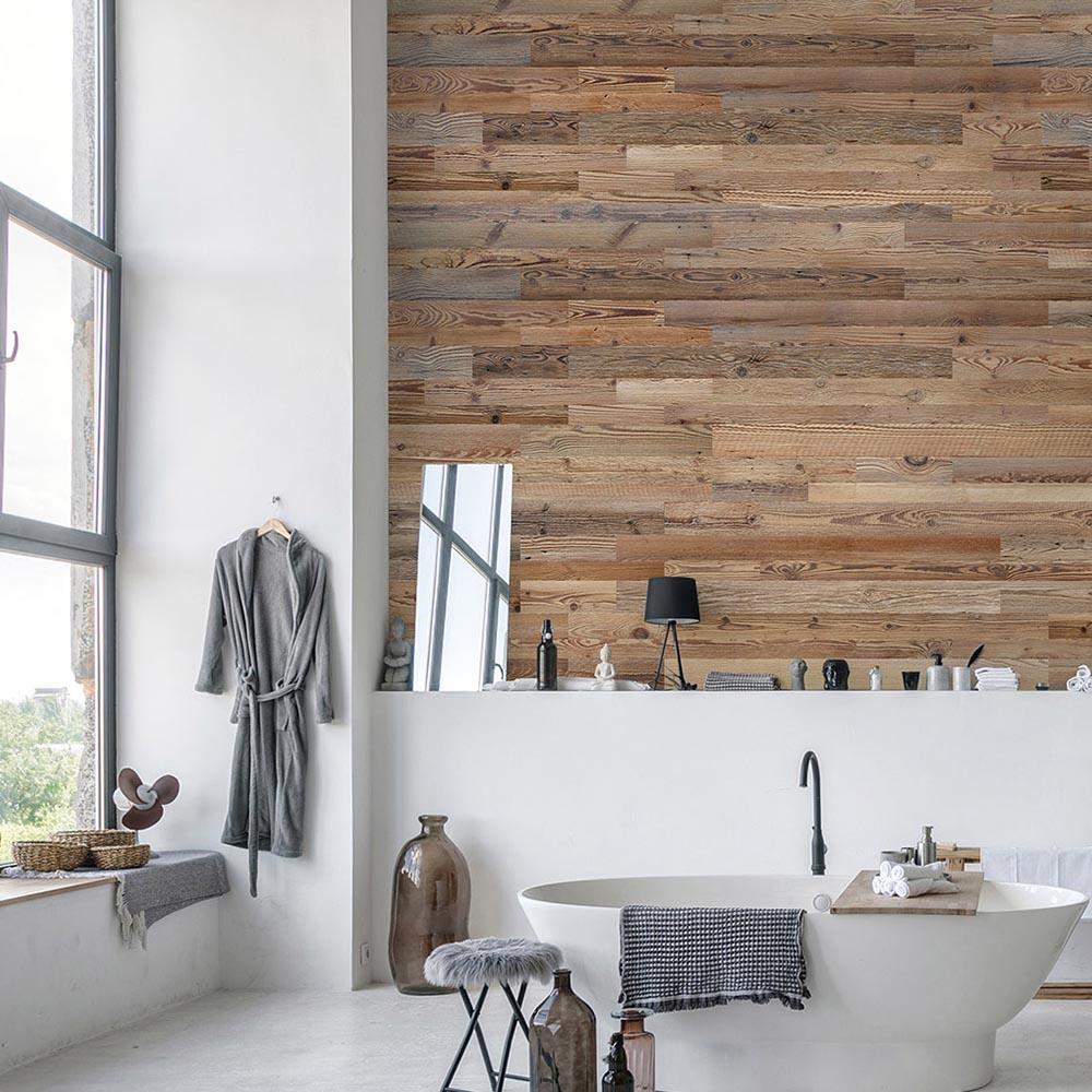 revetement mural bois amber mur en planche de bois recycle wooden wall