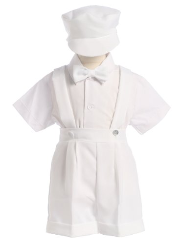 White Christening Baptism Suspenders and Short Set with Hat Size 3T