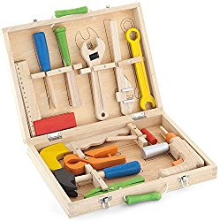 Top Race® 12 Piece Tool Box, Solid Wood Tool Box with Colorful Wooden Tools