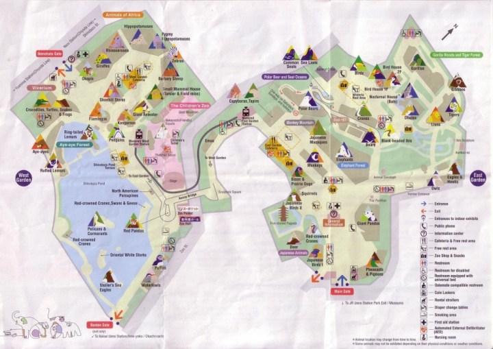 Plan du zoo de Ueno - Tokyo