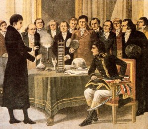 Volta vendant sa pile à Napoléon