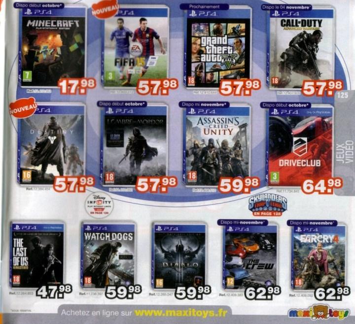 Page jeux PS4 du catalogue Maxitoys