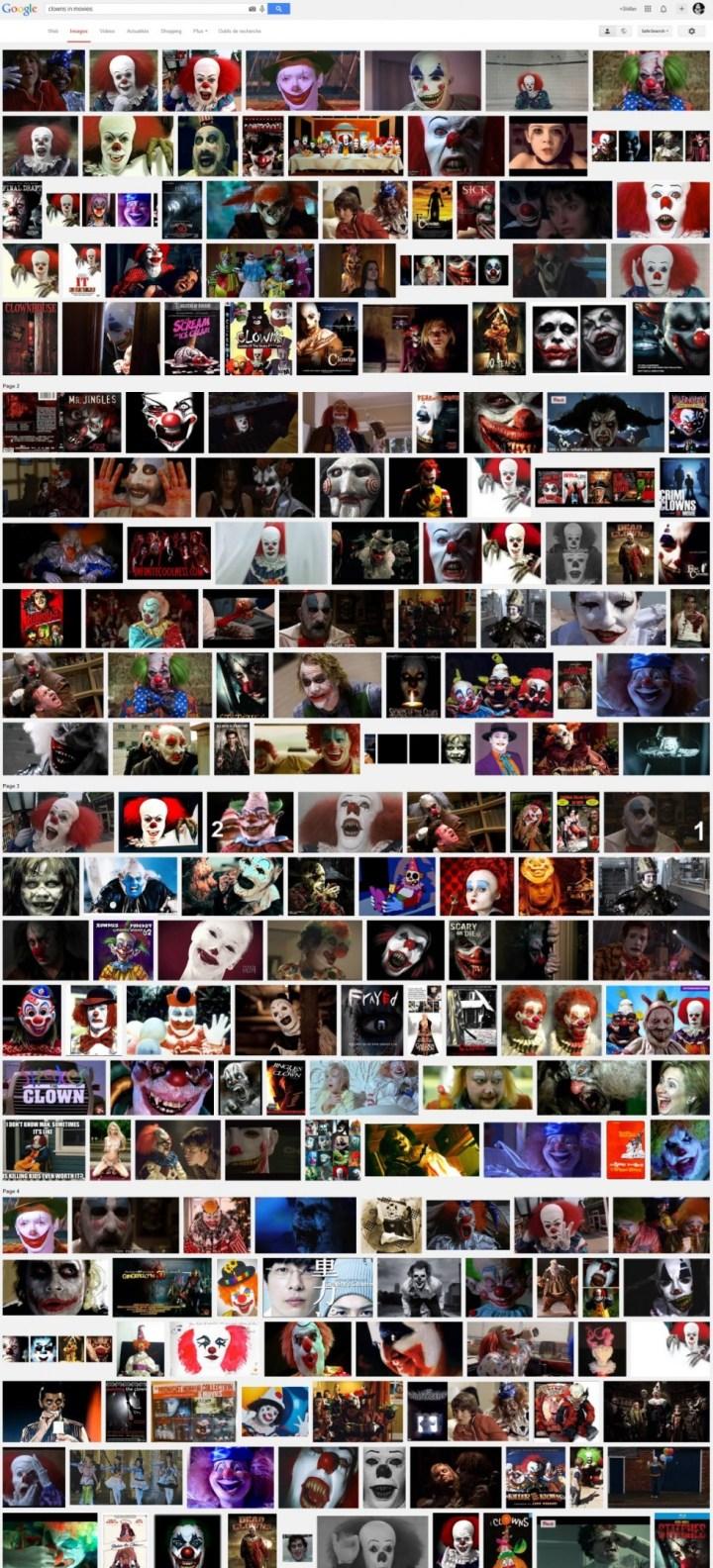 Les clowns dans les films selon Google Images