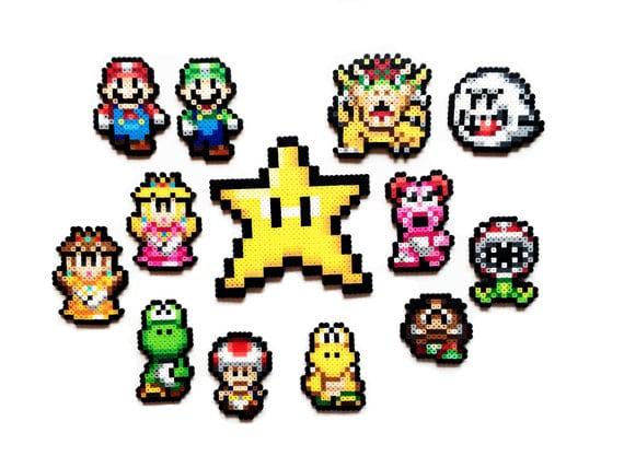 Déco De Noël Pixel Art Perles Hama Retro Gaming