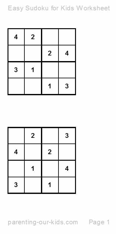 Sudoku for Kids...Printable Sudoku Puzzles- An Easy Start