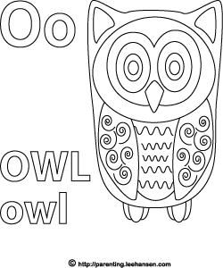 Letter O Activity Page, Owl Alphabet Coloring Sheet