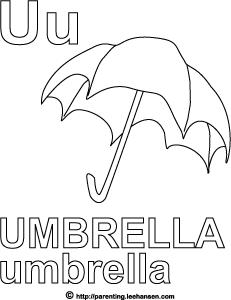 Letter U Activity Page, Umbrella Alphabet Coloring Worksheet
