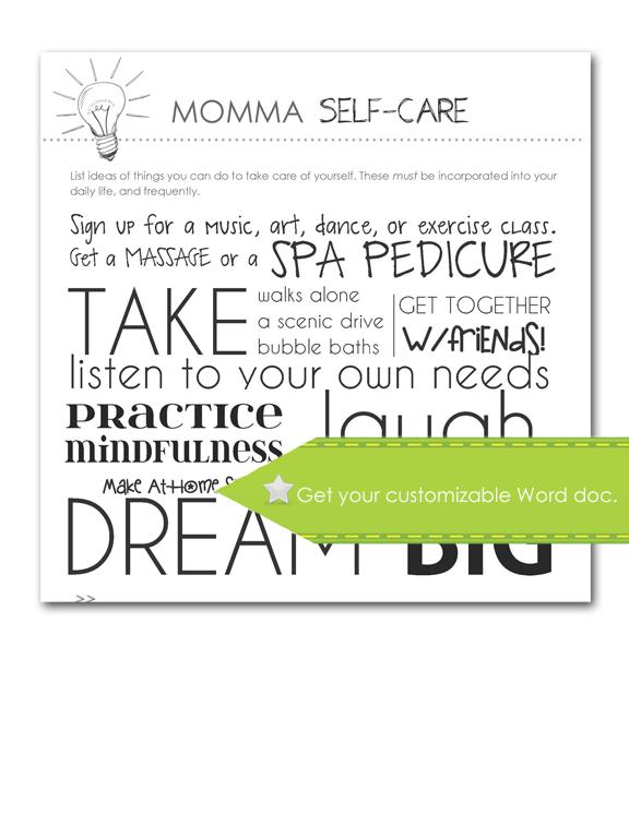 Momma Self-Care, Customizable