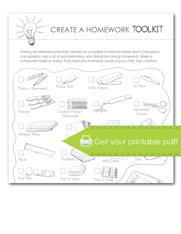 Homework Toolkit Checklist, print