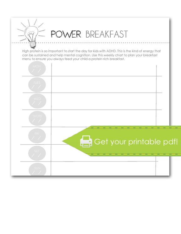 power breakfast worksheet, print