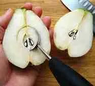 remove seed and core from pear