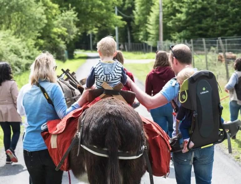 famille en randonnée en âne