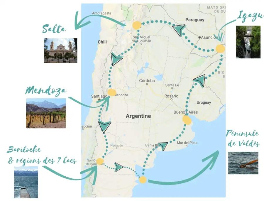 road trip en argentine, photo de notre itinéraire sur 3 semaines