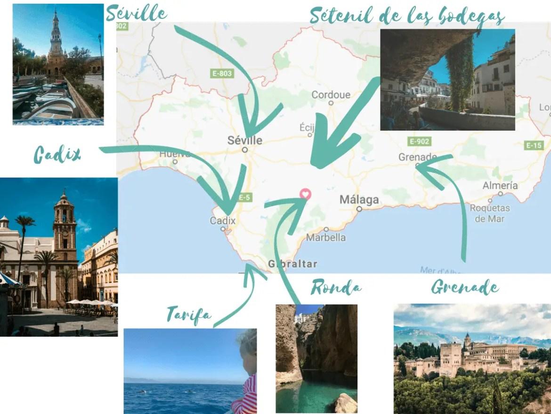 itinéraire et villages en andalousie