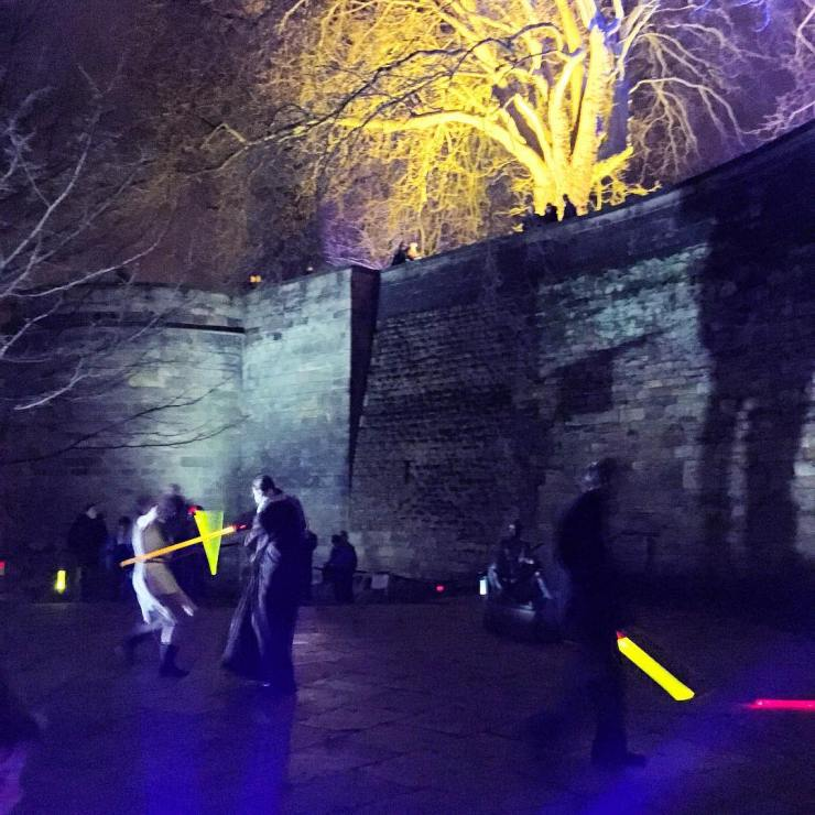 Medieval to Star Wars fighting with light sabers outside Nottingham Castle for #lightnight