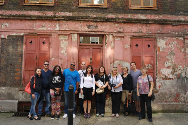 Eating London Tour - gathering outside a house used as a Victorian Film set
