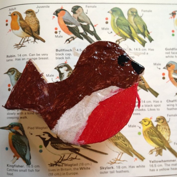 Making a decoupage bird shaped box with kits from Baker Ross-4