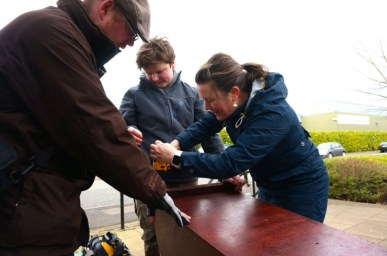 Finishing our barn owl box with Macclesfield RSPB