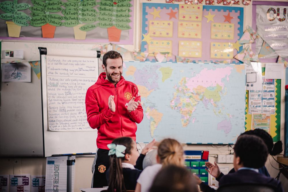 Juan Mata in a primary school to launch Premier League Primary Stars