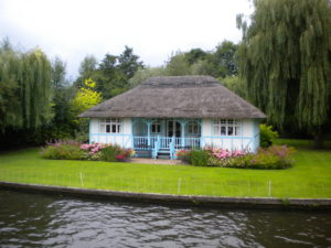 cottage by river