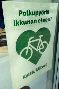 Polkupyöriä ikkunan eteen - kyllä kiitos!