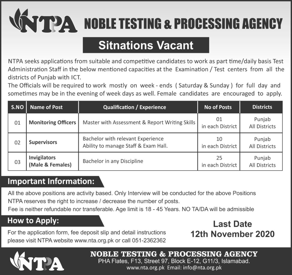 Noble Testing and Processing Agency NTPA Jobs 2020