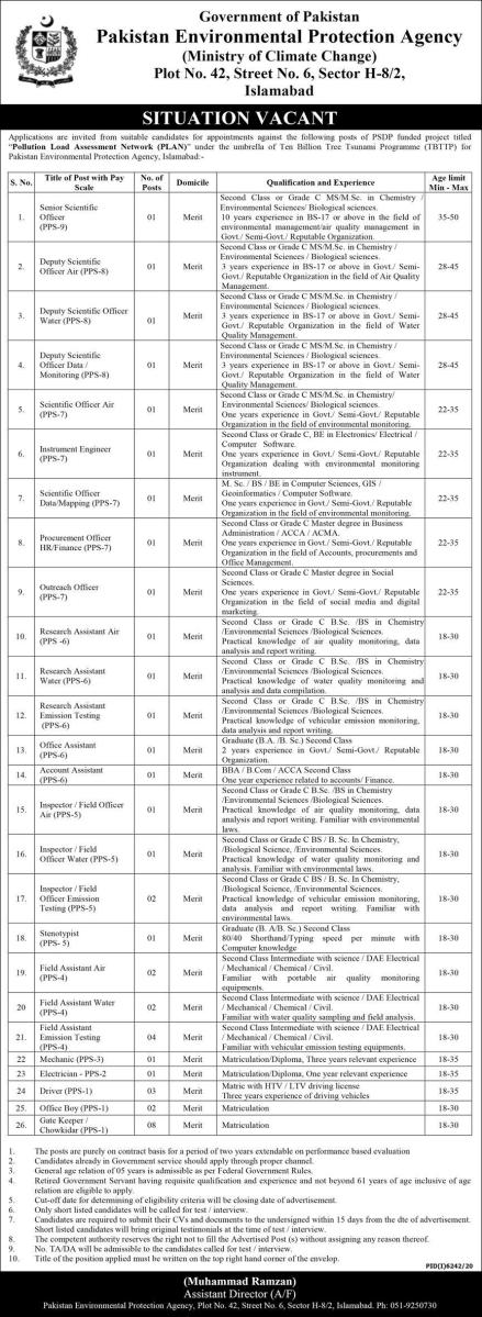MOCC Jobs 2021 Latest Ministry of Climate Change Jobs 2021