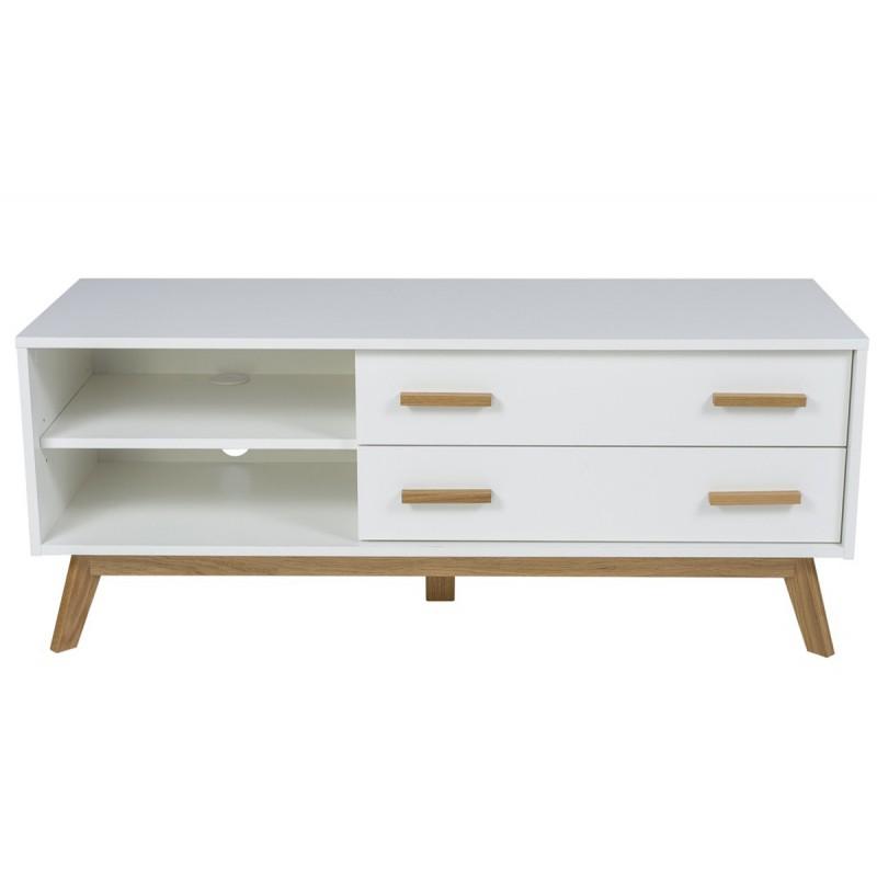 meuble tv design kensal 130cm chene blanc