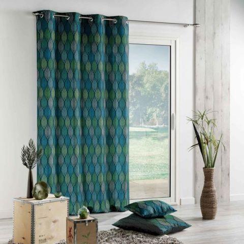 rideau imprime winter 140x260cm vert bleu